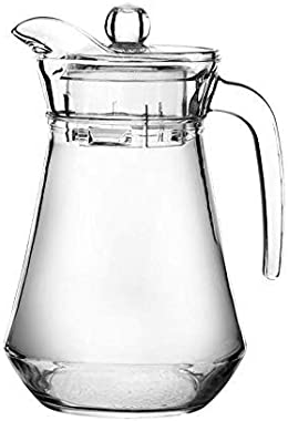 FIMBRIA Glass Water Jug with Lid Glass Pitcher Hot Water Jug Milk Carafe Glass Water Jug for Dining Table 1300 ml