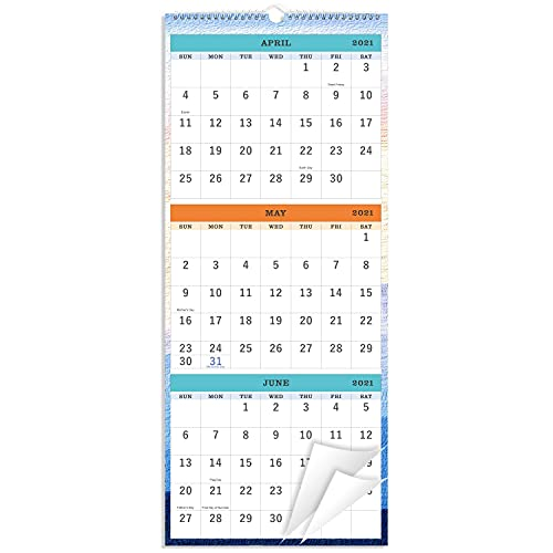 """2021-2022 Wall Calendar - 3-Month Display Vertical Calendar, Calendar Planner 2021-2022, 11"""" x 26"""", Large, Lay- Flat, April 2021 - July 2022, Perfect for Your Busy Schedule"""