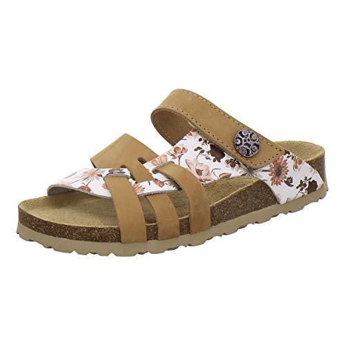 AFS-Schuhe 2120 Damen Pantoletten aus Leder mit Klettverschluss, Bequeme Hausschuhe für Frauen mit Fußbett, Made in Germany (41 EU, braun/Natur-Flower)