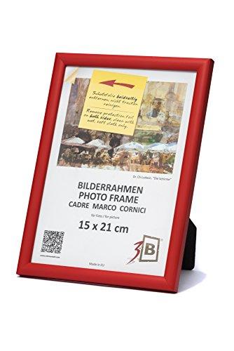 3B Marco de Fotos ULM 15x21 cm - Rojo - Marco de Madera, Foto, parojo y sobremesa con Vidrio de poliéster (lámina de plástico)