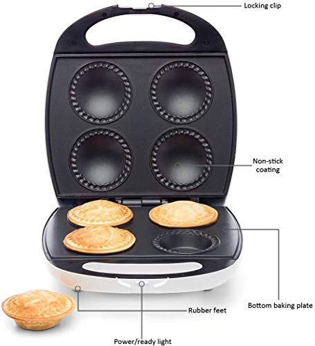 Pie Maker 4-Piece Non Stick Plate Easy Cooking Pastry Bakes Effortless Kitchen - 1400W
