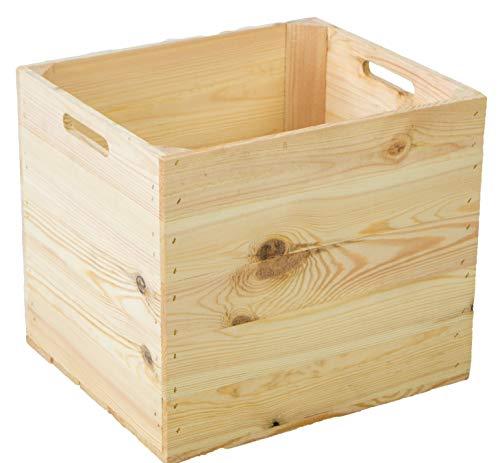 4er Set Holzkiste Aufbewahrungskiste Schubladenbox passend für alle Kallaxregale und Expidit Regale Kallaxysteme Weinkiste Obstkiste Regalkiste Maße 33x37,5x32,5cm Kallax boxen Einsatz (4er set Natur)