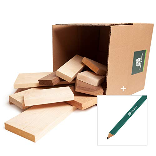 Mixed Hardwood Bundle - Variety Pack of Kiln Dried Northern Wood - Sample Box of 90% Clear Grade, S2S - 10+ Pound Box - Includes Carpenter Pencil - Forest 2 Home
