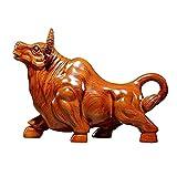 DIEFMJ Adorno de Escultura de Vaca de la Suerte, Estatua de Toro del Zodiaco Chino, Adorno de Vaca Tallado en Madera Maciza para decoración del hogar/Oficina [10 Pulgadas de Grande]