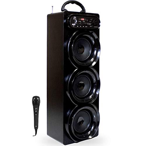 Music Life Altavoz Karaoke Bluetooth Portátil con Micrófono Inlámbrico USB Tarjeta TF Recargable con Radio FM (293-2)