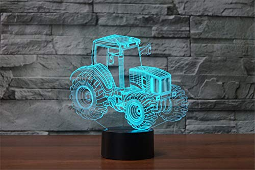Traktor 3D Illusion Lichter Lampe, Traktor LED Nachtlicht Tisch Schreibtisch Dekor, 7 Farben Touch Control USB Powered Magische 3D Visuelle Lampe für Home Decoration Xmas Birthday Gifts