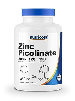 Nutricost Zinc Picolinate 50mg, 240 Veggie Capsules - Gluten Free and Non-GMO