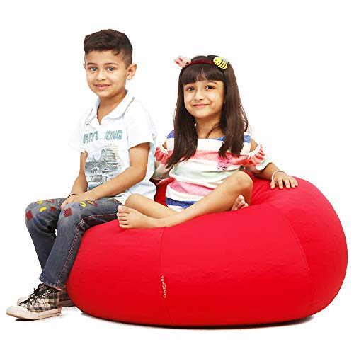 Couchette XL Bean Bag Filled with Beans, Double Stitched, Red