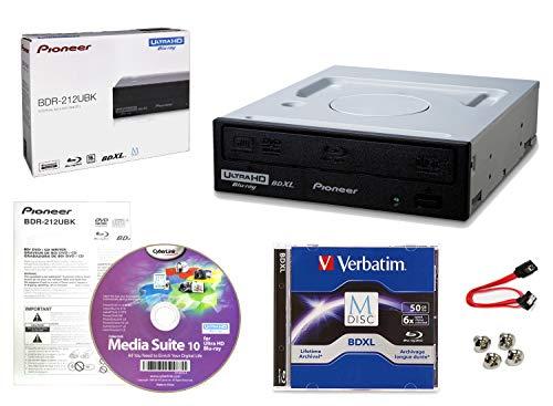 Pioneer BDR-212UBK Internes 16x Blu-ray Writer-Laufwerkspaket mit Cyberlink-Brennsoftware, 50 GB M-DISC BD-R DL, SATA-Kabel und Befestigungsschrauben - Brennt CD DVD BD DL BDXL-Discs