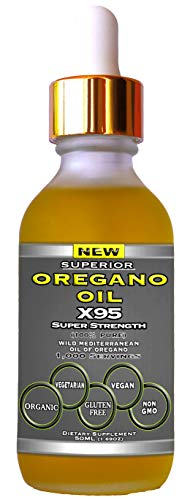 Oregano Oil Drops Super Strength - 12 Month Supply, Food Grade, Pure Undiluted Wild Mediterranean Oil of Oregano Extract, 1.69 oz (Large)