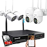 【Expandable 8CH,Two-Way Audio】SmartSF Wireless Security Camera System with 1TB,3MP Bullet Cameras&3MP PTZ Cameras,WiFi Surveillance Camera IP66 Waterproof,Night Vision,Remote Access,7/24 Motion Record