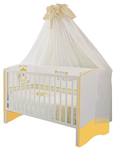 Polini Kids Kinder Baby Kombi-Kinderbett Simple 140 x 70cm weiß-gelb, 1176.18