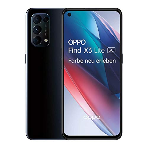 OPPO Find X3 Lite 5G Smartphone, 6,4 Zoll 90 Hz AMOLED Bildschirm, 64 MP Vierfachkamera, 4.300 mAh mit 65W SuperVOOC 2.0 Schnellladen, 8 GB RAM, inkl. Gutschein [Exklusiv bei Amazon], Starry Black