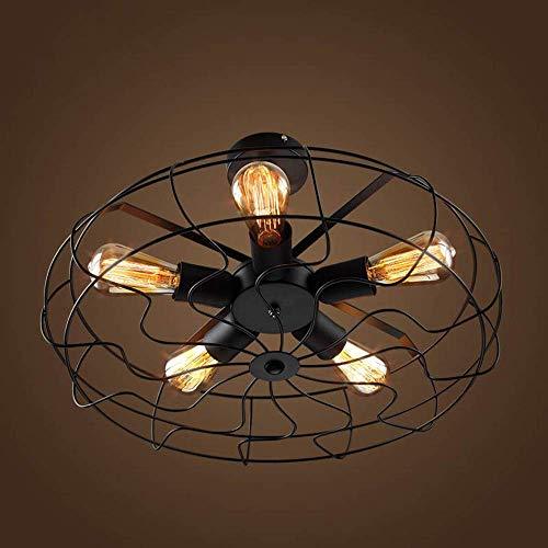 ZHXZHXMY Boutique lighting - Moderna lámpara del techo del LED de iluminación integrado American Country Industrial de la personalidad creativa del ventilador eléctrico retro europeo de la lámpara de
