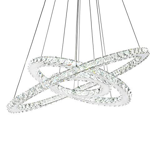 SILJOY Three Rings Chandelier Lighting (11.8-19.7 - 27.6 Inches) K9 Crystal Ceiling Light Fixture Galaxy Style Decor LED Lighting for Dining Room, Entry, Hallway, Hotel.