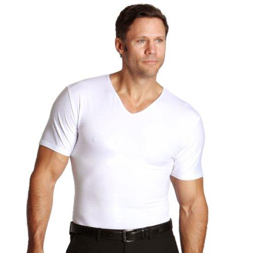 Insta Slim Mens Compression V-Neck T-Shirt (Large, White)