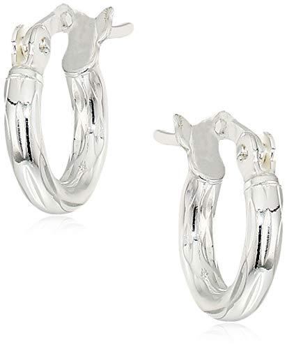 Sterling Silver 2mm x 10mm DC Click Top Hoop Earrings