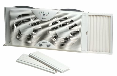 Holmes Dual 8 Blade Twin Window Fan with LED One Touch Thermostat Control