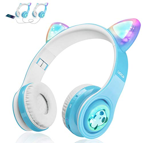 WOICE Bluetooth Headphones, Cat Ear LED Light Up Wireless Foldable Headphones Over Ear with Mic, Music Sharing Function and 85db Limited for iPhone/iPad/Smartphones/Laptop/PC(Sky Blue)