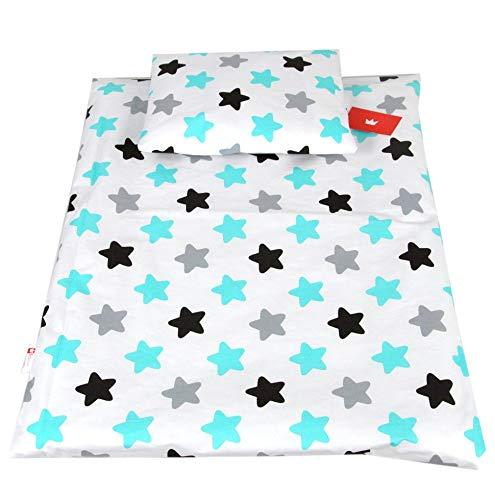 BABYLUX 2 tlg. Set Bezug für Kinderwagen Stubenwagen oder Wiege Garnitur Bettwäsche Kissen Decke 60 x 78 cm (98. Sterne)