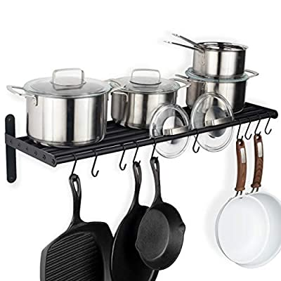 Wallniture Lyon Wall Mount Kitchen Storage Cabinet Organizer Metal Shelf Pot and Pan Set Holder with 10 Hooks from