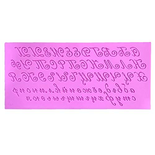 WT-YOGUET 3D Artistique russe Lettre en silicone pour gâteau fondant DIY écriture manuscrite alphabet bonbons pudding chocolat cuisine moule savon outil de cuisson