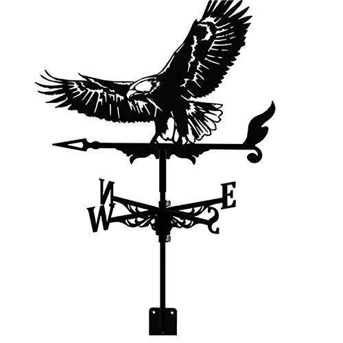 Crovida Wetterfahne Wetterhahn Windrichtungsanzeiger,Retro Weißkopfseeadler Adler Hohl geschnitztes Design, Edelstahl Windrichtung Schwarz Metall für Garten Hinterhof Dach (Weißkopfseeadler)