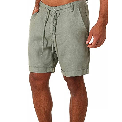 Herren Leinenhose Kurze Hose Leinen-Shorts lässige Männer Freizeithose Strandhose Stoffhose Sommer-Shorts Loungewear-Shorts (XXXL,Grün)