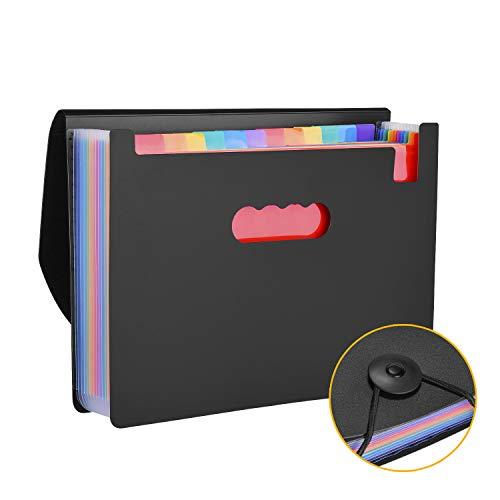 Carpeta Archivador de Acordeón Horizontal con 12 Compartimientos, Tamaños A4, Organizador de Documentos AGPtek A4 de Gran Capacidad, Color Negro