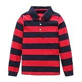 Moon Tree Big Boys Polo Shirt Kids Cotton Long Sleeve T Shirts Black Size 7