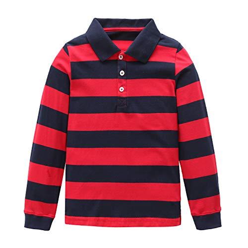 Moon Tree Big Boys Polo Shirt Kids Cotton Long Sleeve T Shirts Black 8T