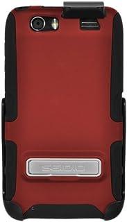 モトローラAtrix HDのためのメタルキックスタンドとホルスターコンボとのSeidio BD2-HK3MTAT3K-GR DILEXケース、小売包装(ガーネットレッド)