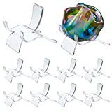 Hipiwe 10 Packs Acrylic Triangle Display Holder - Clear Plastic Display Easel Stands for Geodes Rock Mineral Agate Fossil Coral Small Collectibles Display Stands, Large