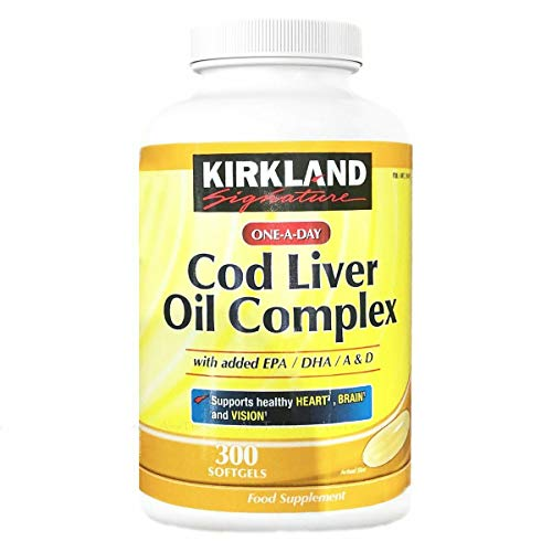 Kirkland Signature Cod Liver Oil Complex with Added EPA, DHA, Vitamin A, Vitamin D, 300 Softgels