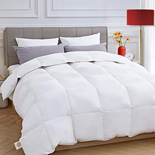 ELEMUSE Queen/Full Size White Down Comforter with Corner Tabs, Fluffy Lightweight Quilted Duvet Insert for All Season, Egyptian Cotton 47oz...