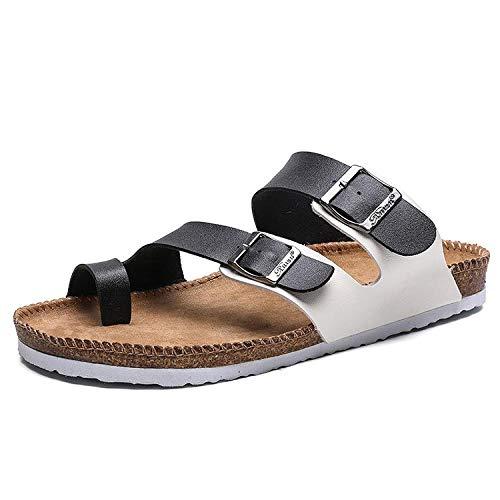 Sandalias de Corcho Unisex 44 Negro y Blanco