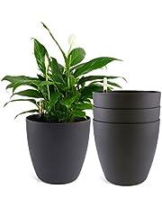 T4U Zelfwaterende bloempot met waterindicator, set van 4, zelfbewatering, waterreservoir, plantenbak, pot voor binnen en buiten