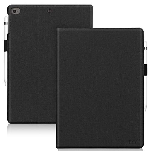 FYY Leather Case with Apple Pencil Holder for iPad Air 1/2, iPad 9.7 2017/2018 - Folio Stand Protective Case Smart Cover with Hand Strap Card Slots for Apple iPad Air 1/2 /iPad 9.7 2017/2018 Black
