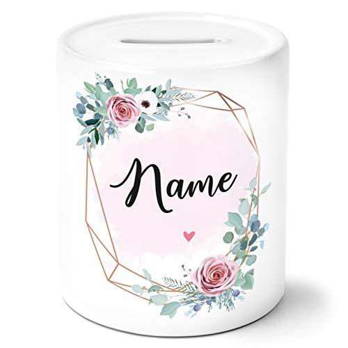 OWLBOOK Dein Wunschname rosa Blumen Spardose Geschenke Geschenkideen für die Freundin und Frau zum Geburtstag Jahrestag