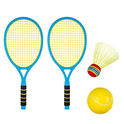 Seciie Raqueta de tenis para niños, juego de raqueta de bádminton con pelotas de bádminton para exteriores, juguete para niños a partir de 3, 4, 5, 6 años