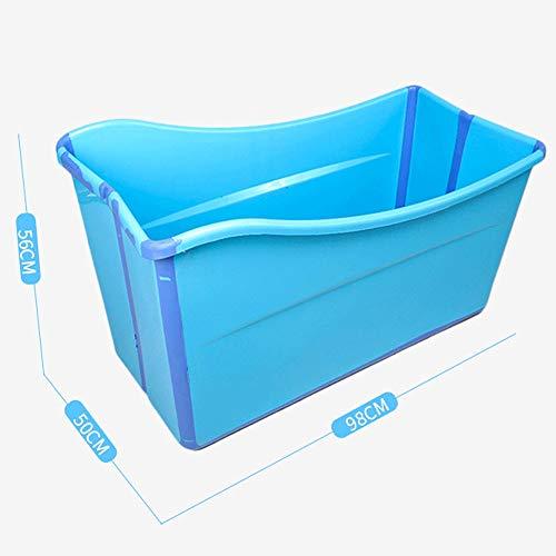 Flodable Badewannen for Kinder Kinder spielen Badewanne Große Badewanne for Erwachsene Kunststoff Tragbare Badewannen Eisbad Warmes Bad Innenbadewannen Außenbadewannen zum Einweichen ( Color : Blue )