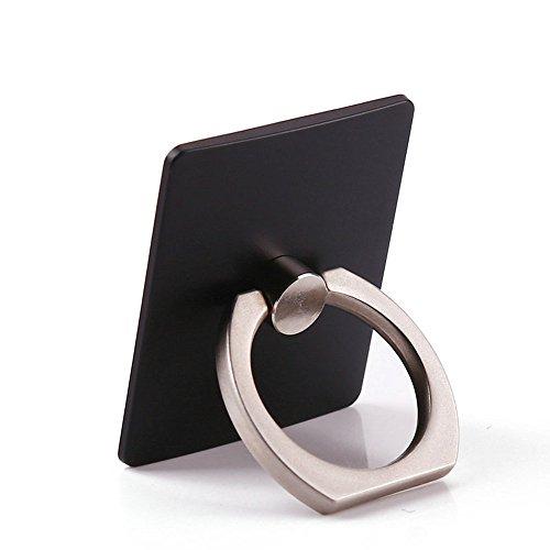 TRIXES Universal-Handy-Ring-Ständer, 360-Grad-Bildschirmhalterung und Halterung, Schwarz, matt, 2 Stück