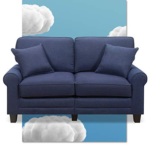 "Serta Copenhagen 61"" Loveseat - Pillowed Back Cushions and Rounded Arms, Durable Modern Upholstered Fabric - Navy Blue"