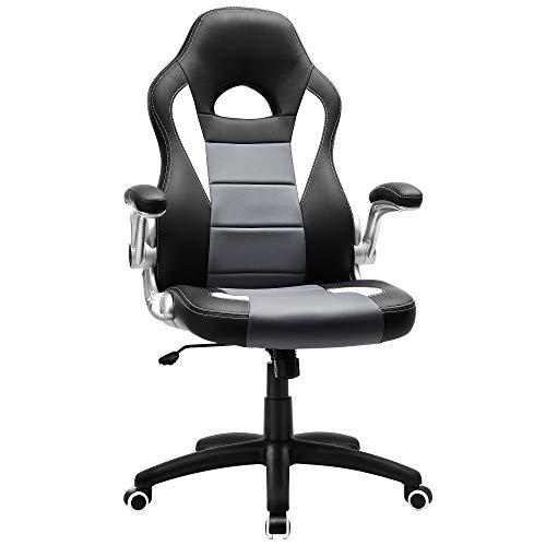 SONGMICS Gamingstuhl, Racing Chair, Schreibtischstuhl mit hoher Rückenlehne, Bürostuhl, höhenverstellbar, hochklappbare Armlehnen, Wippfunktion, für Gamer, schwarz-grau-weiß OBG28G