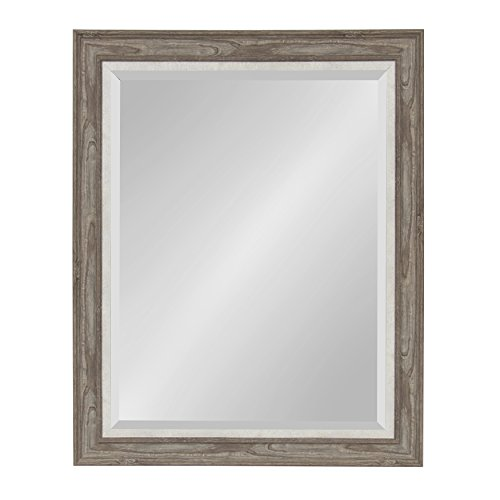 Kate and Laurel Woodway Large Framed Wall Mirror, 27.5x33.5 Inches, Rustic -