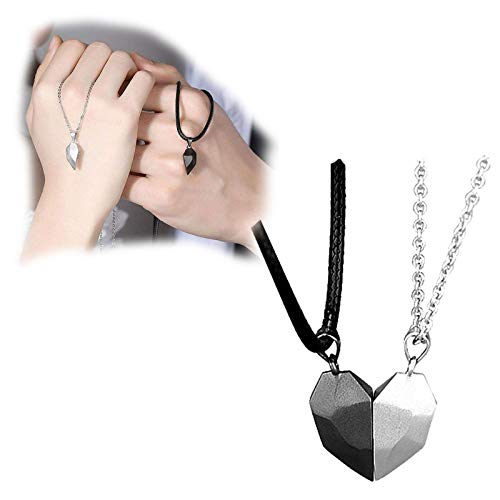 HHKX100822 Magnetic Love Heart Necklace Pendant, Couples Half Romantic Wedding Jewelries Gifts Minimalist, Lovers Matching Friendship Couple Distance Faceted Jewelry