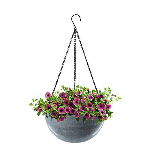 Wiwoo Hanging Planter Basket,10 Inch Round Flower Plant Pot,Plant Containers with Polyester Rope Hanger for Garden Indoor Outdoor Home Decoration(Gray Blue)
