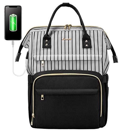 LOVEVOOK Rucksack Damen Laptop, wasserdichte Schulrucksack Mädchen Teenager, Groß Uni Laptoprucksack mit USB Ladeanschluss, Rucksack mit Laptopfach für 13 14 15,6 Zoll Notebook, 20L