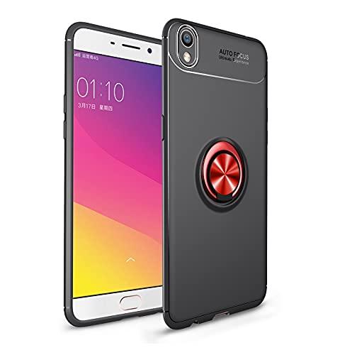 Das tragbare Handy Tasche Schutzhülle für OPPO R9 plus Fall Weiche TPU Stoßfest Hülle 360 Grad rotierender Metall Magnetring Kickstand Wärmeableitung Anti-Fall-Schutzhülle ( Color : Black+Red )