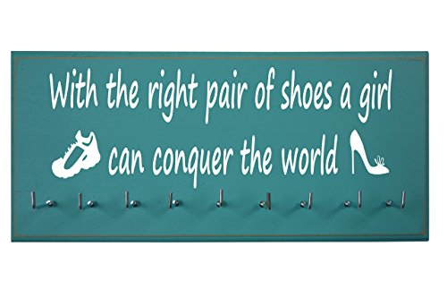 Running On The Wall-Gifts for Runners-Marathon Medal Display-Medal Rack for Running- Awards Hanger - Wall Mounted Holder-with The Right Pair of Shoes, A Girl CAN Conquer The World